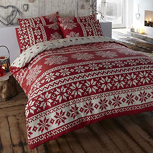 ( Retro Nordic Alpine Snowflake 100% Brushed Cotton Flannelette Thermal Duvet Cover Bedding Set Red)