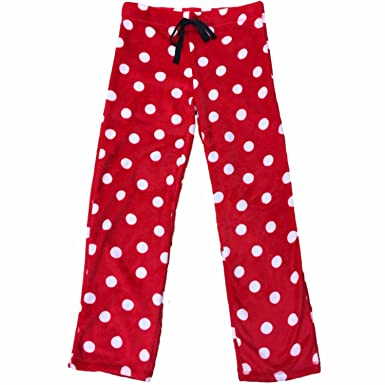 Secret Treasures Womens Red White Fuzzy Polka Dot Fleece Sleep