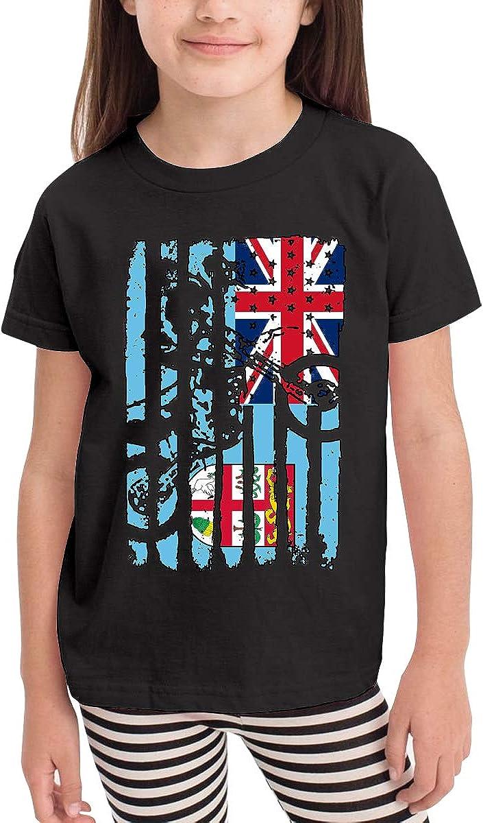 American Fiji Flag Motocross Toddler//Infant Crew Neck Short Sleeve Shirt Tee Jersey for Toddlers