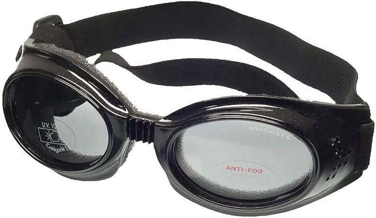 TALLA L. Doggles DGIL-01-L ILS - Gafas de Sol para Perros, Negro (Shiny Black Frame/Mirror Blue Lens), L
