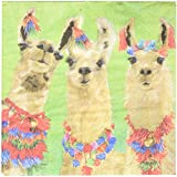 Paperproducts Design PPD 1252790 Llama Amigos Beverage/Cocktail Paper Napkins,5''x5'', Multicolor