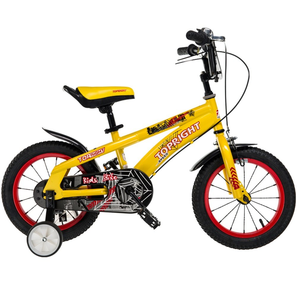 YANGFEI 子ども用自転車 子供用の自転車、トレーニングホイール付きユニセックス子供用自転車、様々なトレンディな機能、12,14,16および18インチ、おしゃれな男の子と女の子のための贈り物 212歳 B07DWP928P 12 inch|イエロー いえろ゜ イエロー いえろ゜ 12 inch