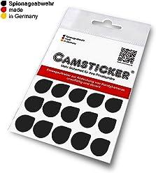 SPIONAGEABWEHR - 15 Stk. CAMSTICKER®XXL Ø15mm - SCHWARZ MATT - Kamera Aufkleber für integrierte Mini-Webcams - Für Smartwatch, Handy, Tablet, Notebook, Laptop, Monitor & Fernseher
