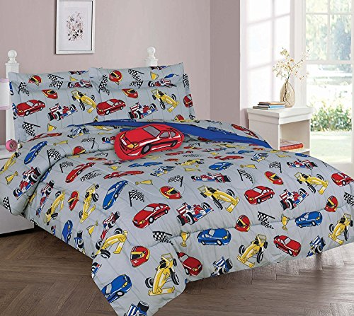 Decotex 6 Piece or 8 Piece Race Cars Kids Bed in a Bag Comforter Bedding Set With Plush Toy and Matching Sheet Set (Full 8 Piece Comforter) ()