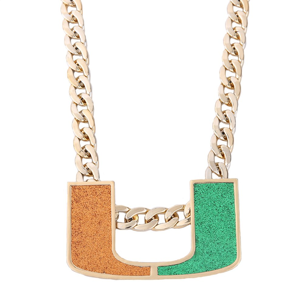 YH YAOHOU Gold Plated Men Jewelry Necklace Miami Hurricanes Turnover Chain Replica Fans Gift