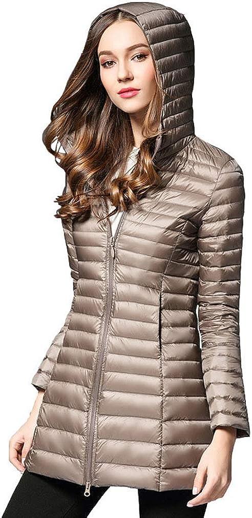 Weimomonkey Womens Hooded/Down Jacket Coat Ladies Solid Casual Slim Light Down Long Overcoat Winter Outwear