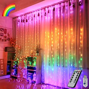Rainbow Curtain Lights, 9.8ftx9.2ft 280 LED Curtain Lights, Multicolor Curtain String Lights with 8 Modes USB Remote Control for Girls Room, Kids Bedroom,Unicorn Room Decor,Birthday Christmas Party