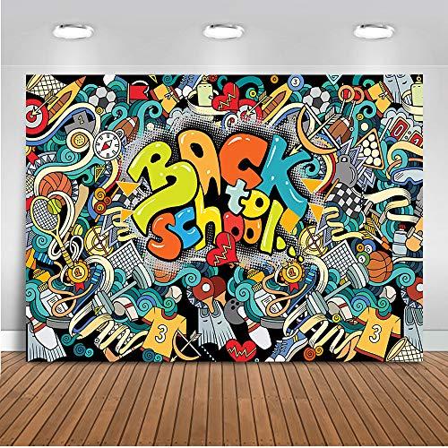 Mehofoto Back to School Backdrop Graffiti Pencil Blackboard Photography  Background 7x5ft Vinyl Student Studio Education Party Portrait Backdrops