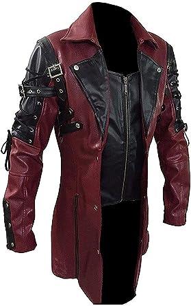 Fashion_First - Abrigo de piel para hombre, diseño gótico Steampunk Rave Matrix