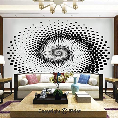 (Lionpapa_mural Removable Wall Mural | Self-Adhesive Large Wallpaper,Black Dots Forming a Spiral Shape Monochrome Circle Twist Optical Art Elements Decorative,Home Decor - 66x96 inches)
