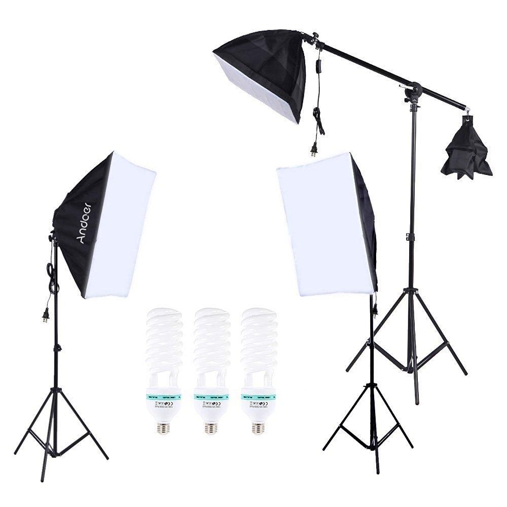 Andoer Photography Photo Studio Lighting Kit Set Softbox with 5500K 135W Daylight Studio Bulb Light Stand Square Cube Softbox Cantilever Bag (softbox)