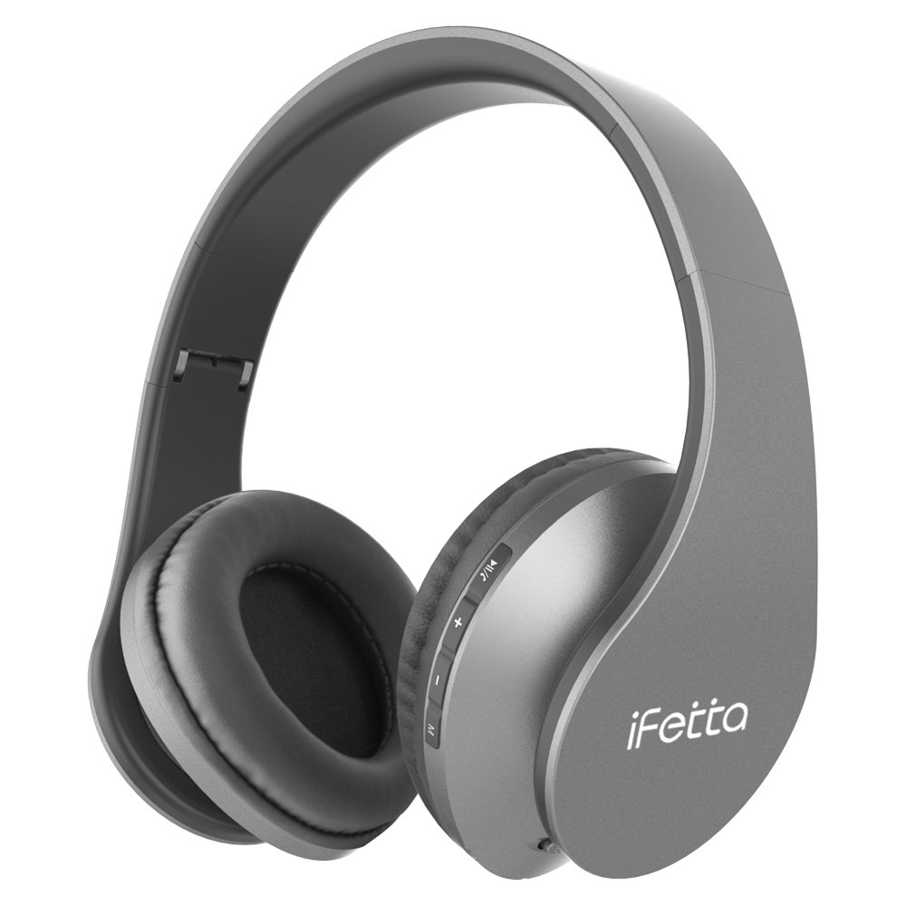 Ifecco Bluetooth Headphones, 4 in 1 Upgrade Bluetooth Foldable Over-ear Headsets with Micro Support SD/TF Card for Bluetooth-enabled Devices (Cool Gray)