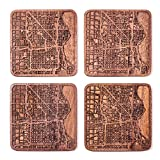 Milwaukee Map Coaster by O3 Design Studio, Set Of 4, Sapele Wooden Coaster With City Map, Handmade