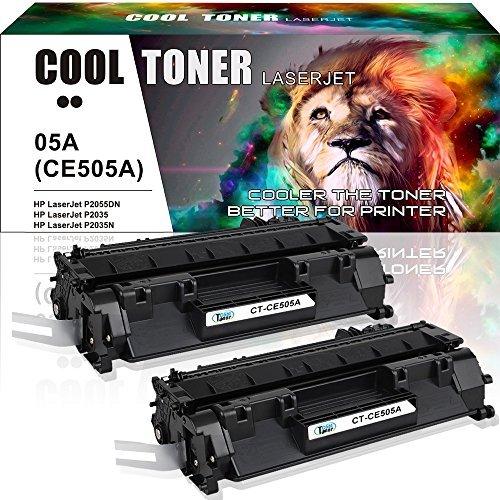 Cool Toner Compatible Toner Cartridge Replacement for HP 05A CE505A 05X CE505X HP P2035 P2055dn HP Laserjet P2035 P2055DN P2035N P2055D P0255X HP Laserjet P2055 P2035 2035 2055 Toner Ink Printer-2PK