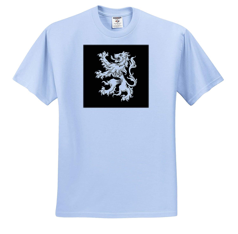 3dRose Russ Billington Designs T-Shirts Cool Vintage Heraldic Royal Lion in White on Black