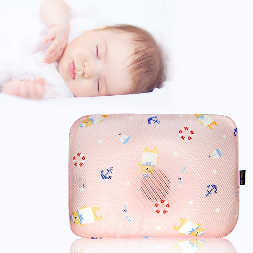 Gio Pillow 3D Air Mesh Toddler Pillow for Girls, Premium Head Shaping Pillow, Flat Head Syndrome Prevention [Pink Bear/Toddlers 6-24 Months]