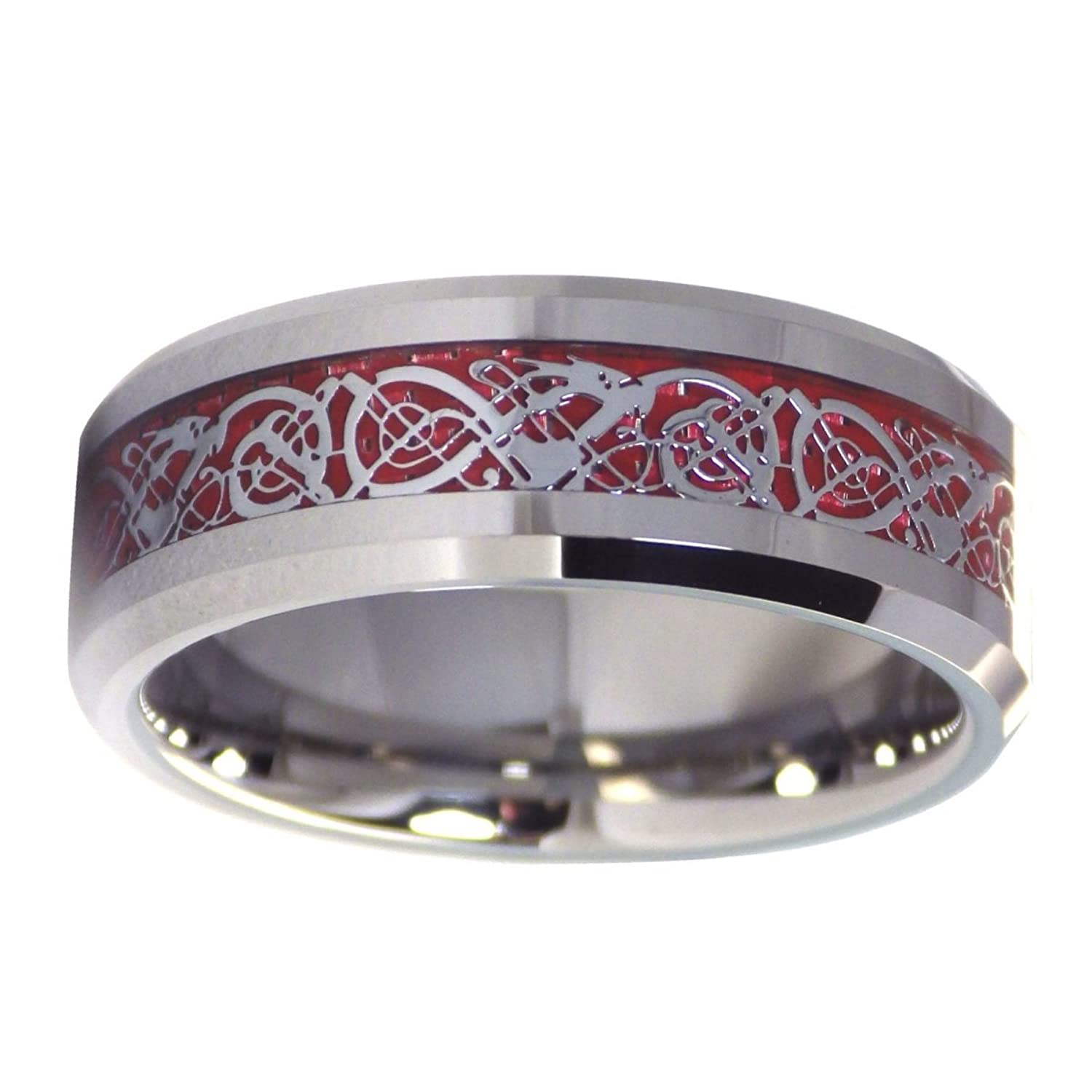 Tungsten 8mm Silver Tone Viking Dragon Celtic Knot Ring Red Carbon