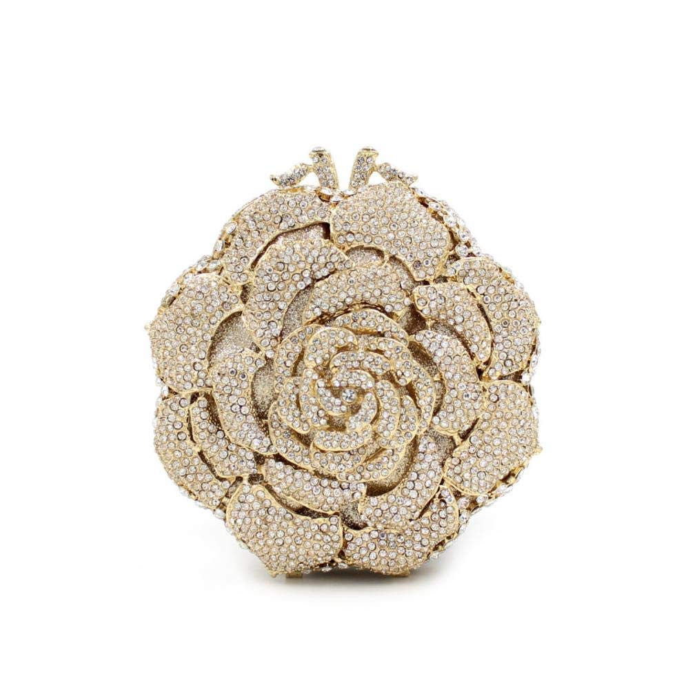 Fashion Classic Small Lady Clutch Bag With Rhinestone Petals Lady Evening Bag Evening Party Cocktail (Gold)