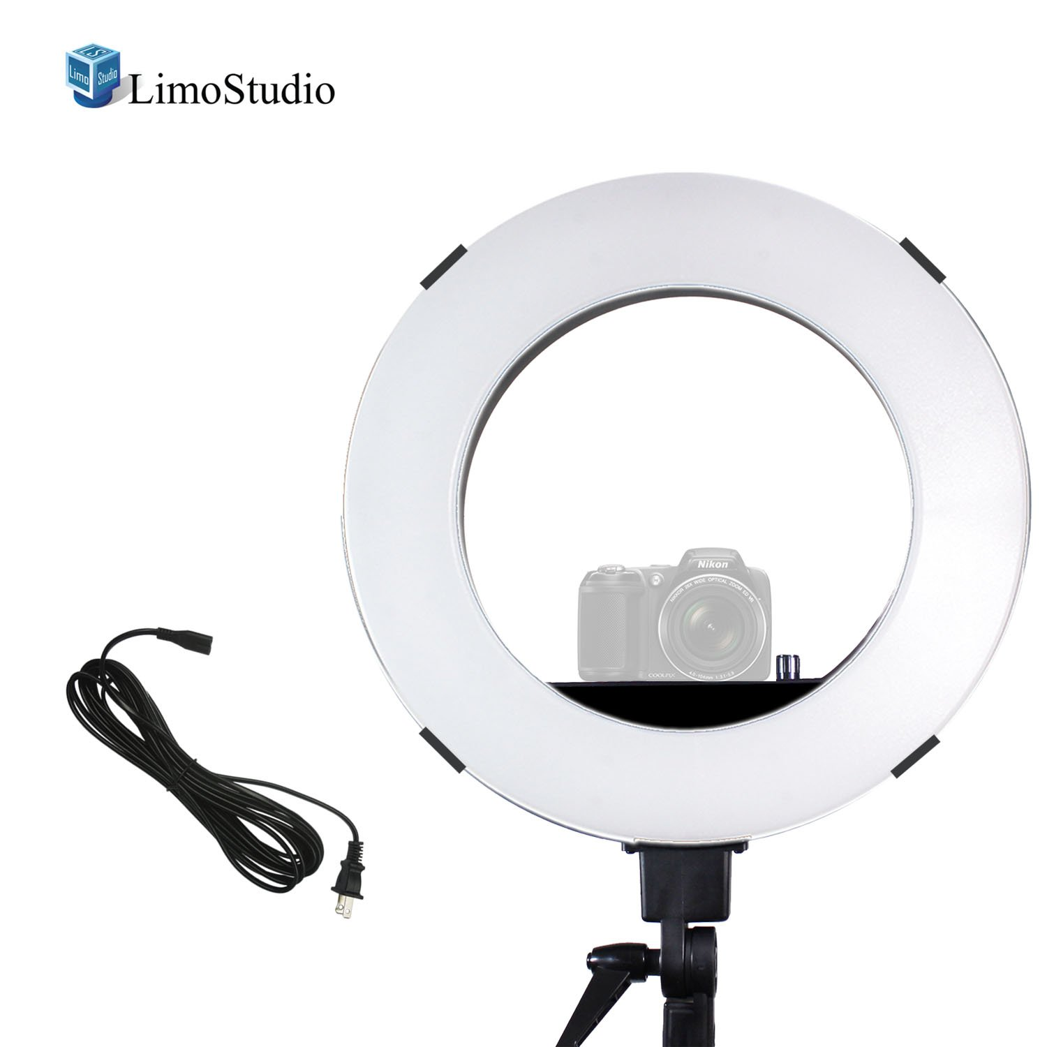 18'' Diameter Dimmable Ring Light 50W/5500K Continuous Output Lighting with Camera Mount Adapter Bracket and Carry Bag for Portrait and Photo Video Studio, AGG2373_V3