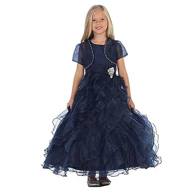4ce7c44eec6 Angels Garment Big Girls Navy Organza Brooch Bolero Flower Girl Dress 7