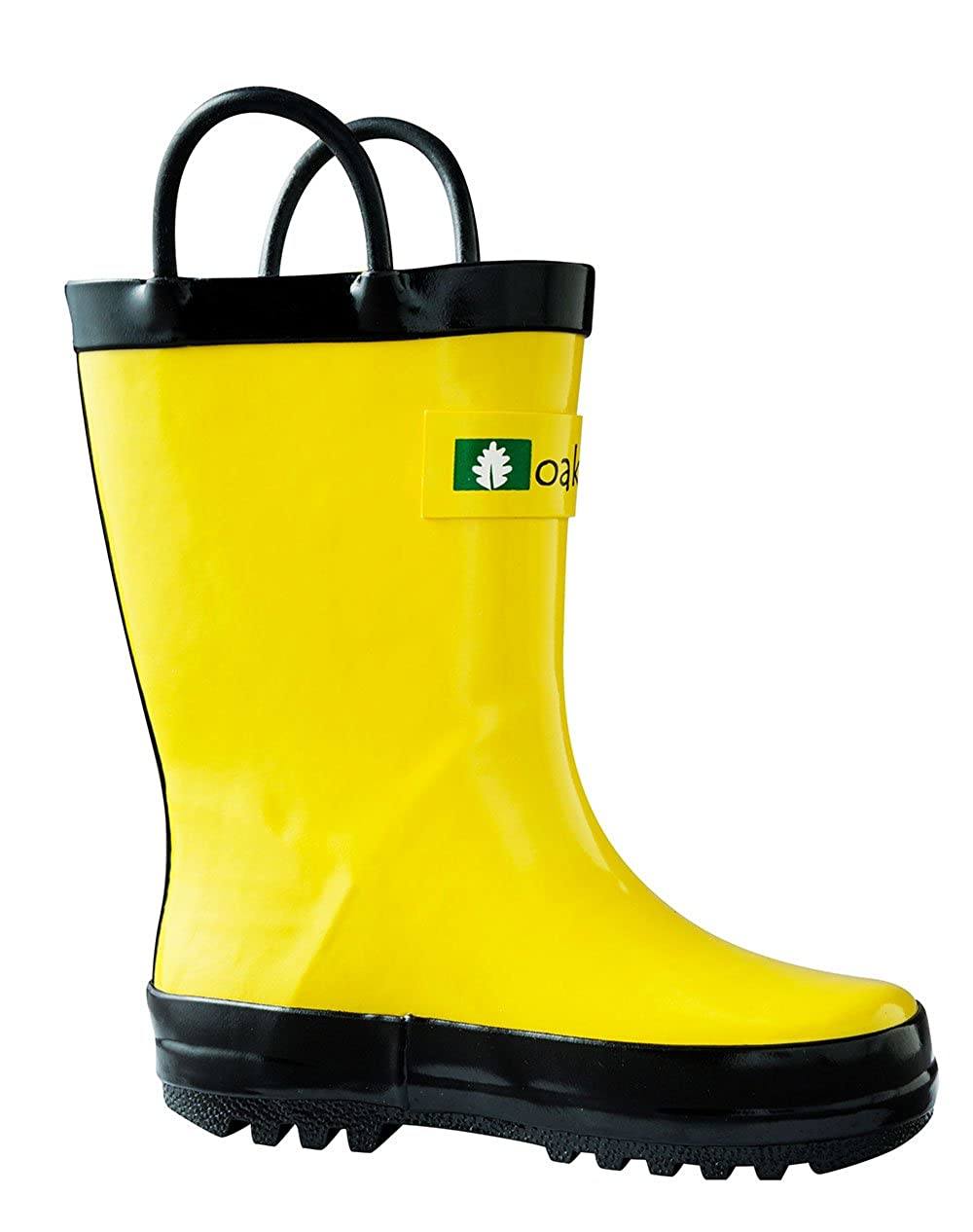 ff89b9b8b7dbc OAKI Kids Waterproof Rain Boots with Easy-On Handles, Yellow, 4T US Toddler