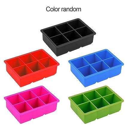 Novedad 6-Cuadrados Bandeja de Cubo de Silicona Suave máquina de Hacer Hielo Molde de