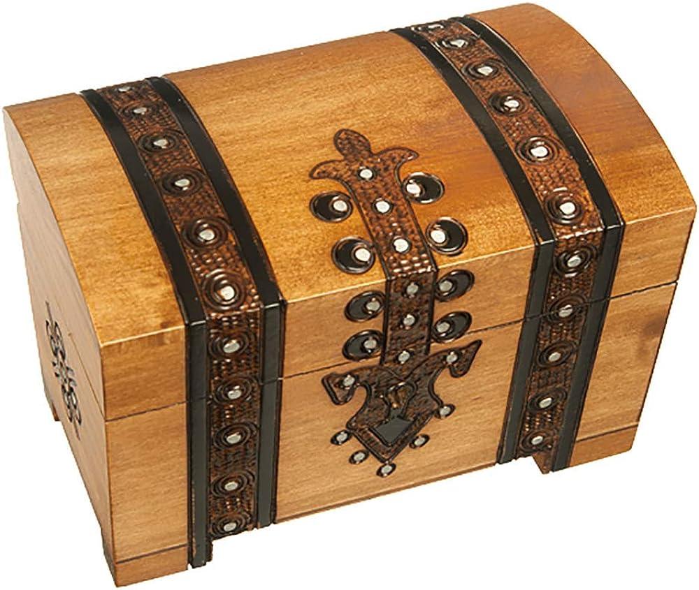 Scout Chest Box Polish Handmade Wood Keepsake Jewelry Box w// Lock and Key