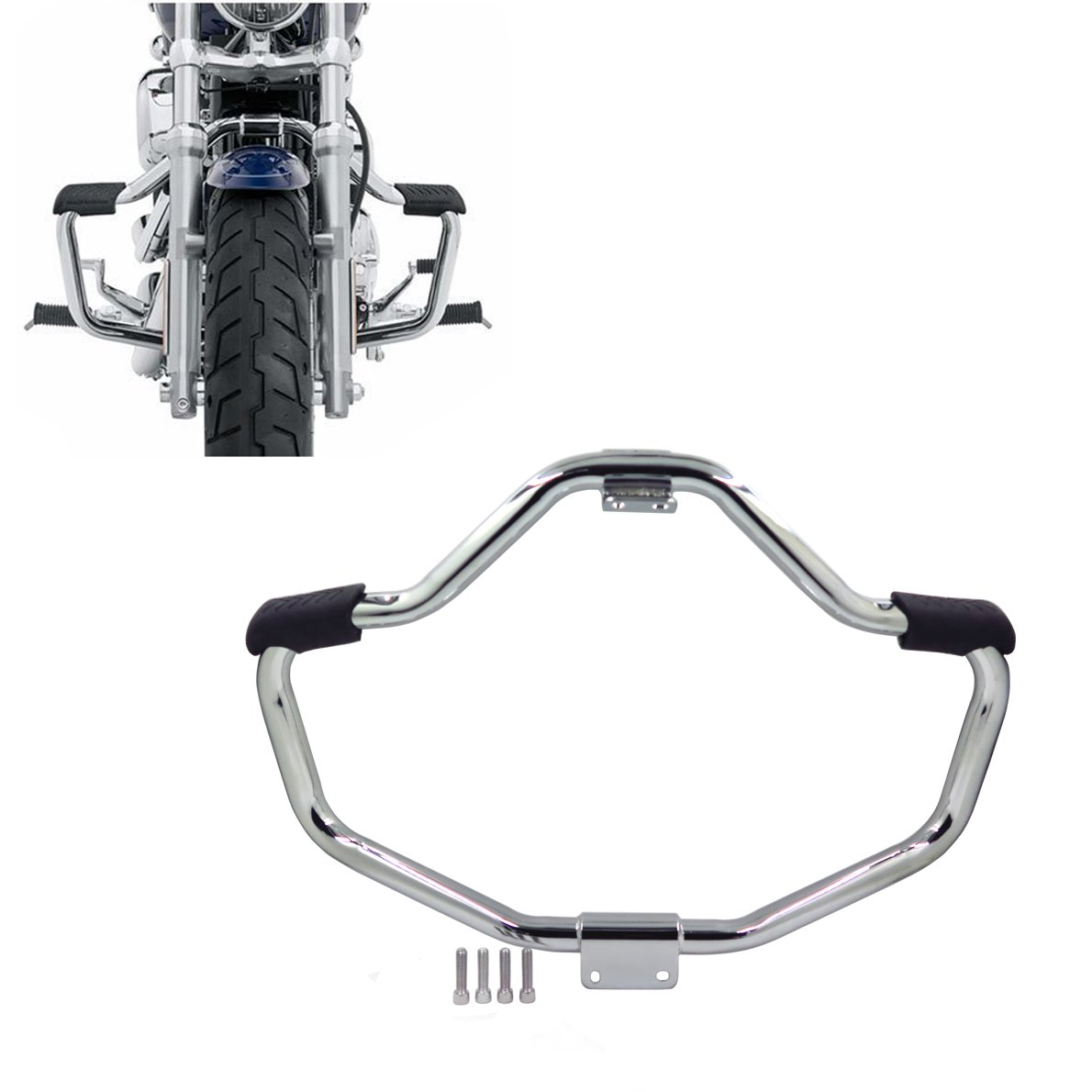 HTT Group Motorcycle Chrome Front Crash Bar Saftey Bars Protection Tube For 2004-2016 Harley Davidson Sportster Iron 883 XL883N XL1200N XL1200L 48 XL1200X