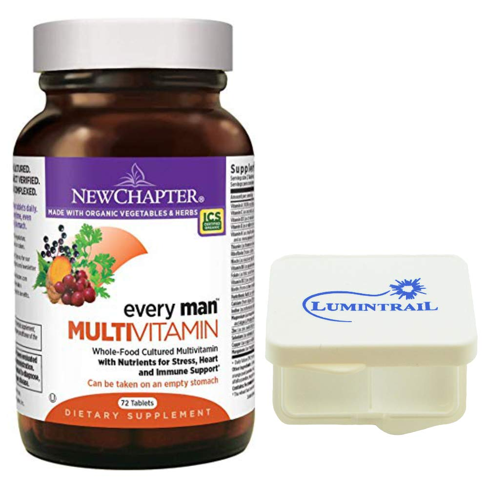 New Chapter Every Man, Men's Multivitamin Fermented with Probiotics, Selenium, B Vitamins, Vitamin D3-72 Tablets Bundled with a Lumintrail Pill Case