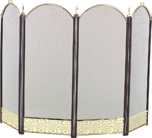 - 2083-9F Polished Brass 4 Fold Arched with Black Screen - 32.5 inch