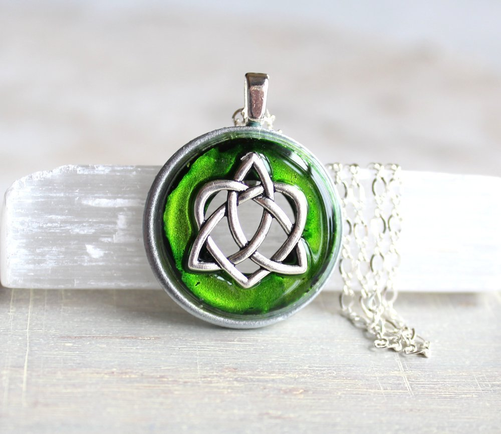 Amazon Green Celtic Sister Knot Necklace Handmade