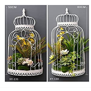 FYYDNZA Living Room Wall Pendant Half Shape Bird Cage Flowerpot Meat Iron Simulation Flower Birdcage Home Living Room Wall Pendant,Xy-130- One Assembly 44