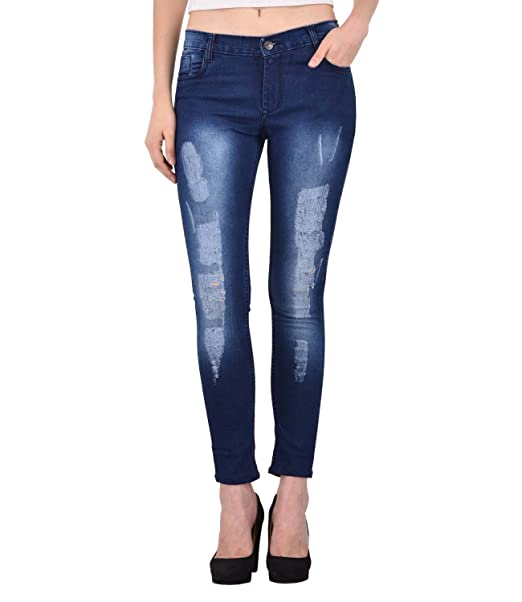 9d723c784b22 ANSH FASHION WEAR Women s Distressed Denim Jeans - Contemporary Regular Fit  Rugged Denims for Women - Washed Mid Rise Ankle Length Jeans - Blue   Amazon.in  ...