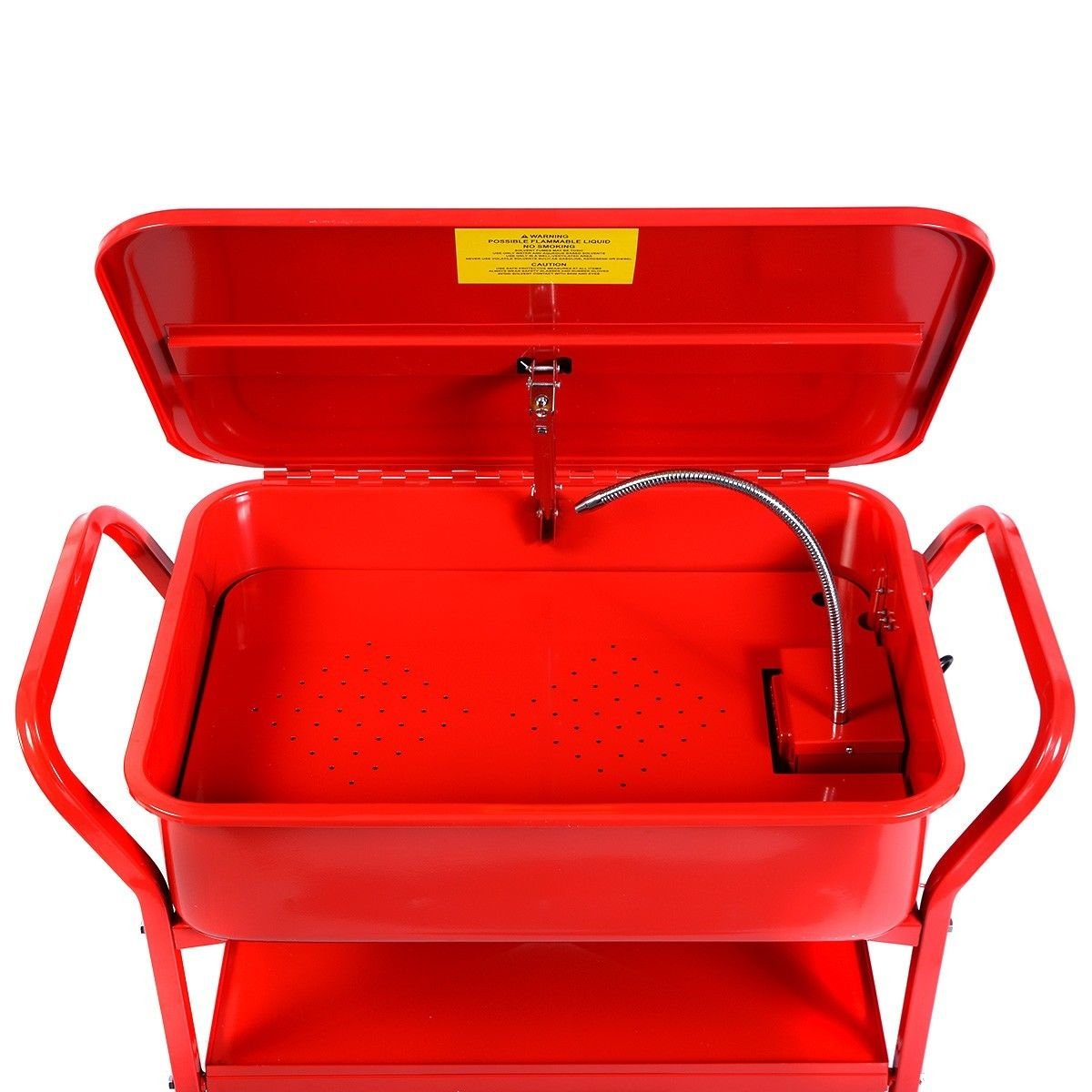 Globe House Products GHP 20-Gallon Max Tank Cacpacity 5.28GPM Flow Rate Red Mobile Parts Washer Cart by Globe House Products (Image #2)