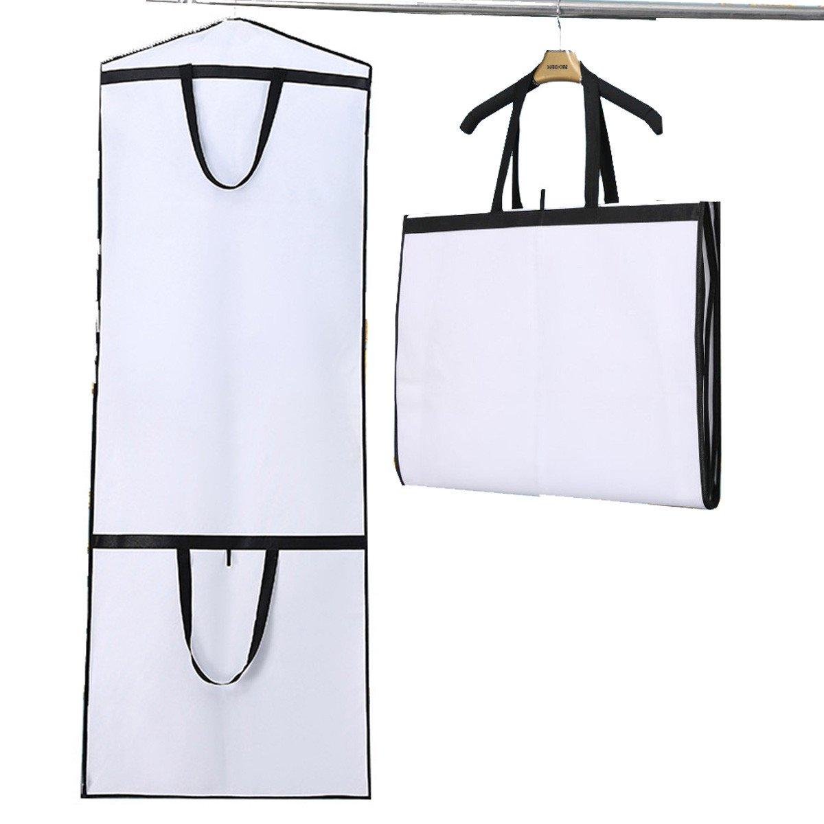 ARHSSZY 1pc 180cm 360 Degree Dustproof Non-woven Bridal Dress Gown Protection Cover Wedding Dress Garment Bag Storage Bag (White)