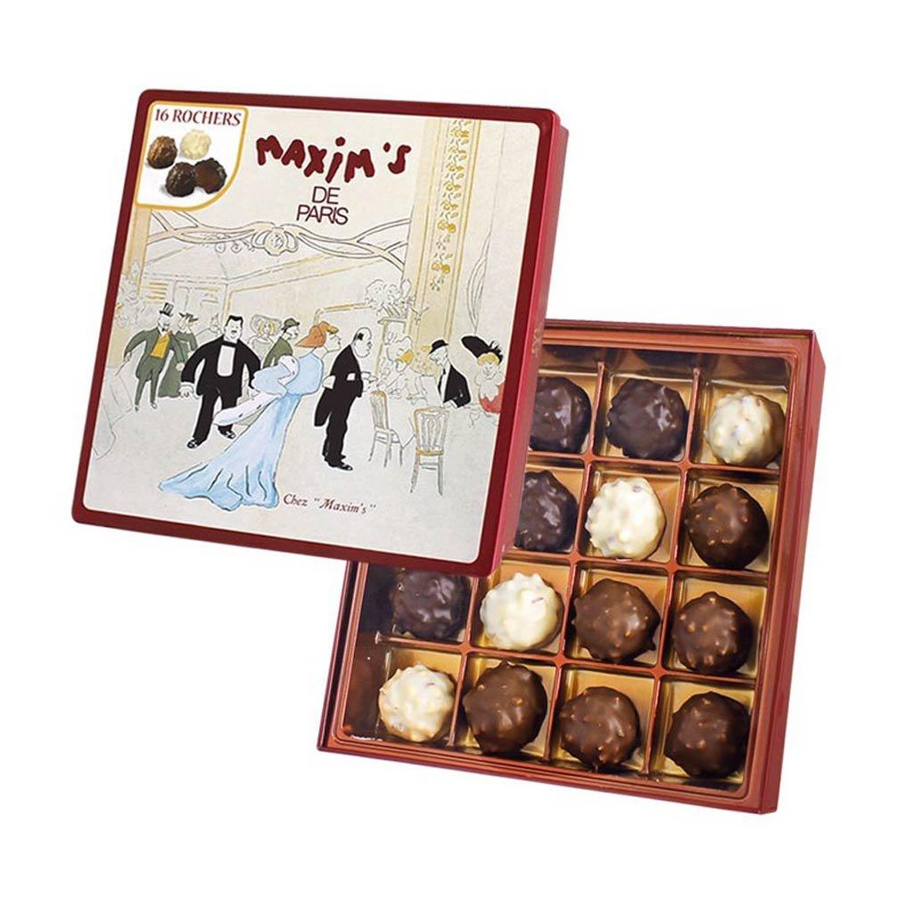 Maxim's de Paris 16 Gourmet Chocolate Rochers with Hazelnuts, Gift tin 4.9oz by Maxim's de Paris