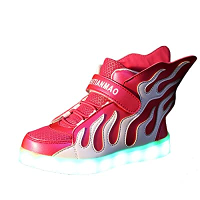Kids High Top LED Shoes Light Up USB Charging Boys Girls Sneakers