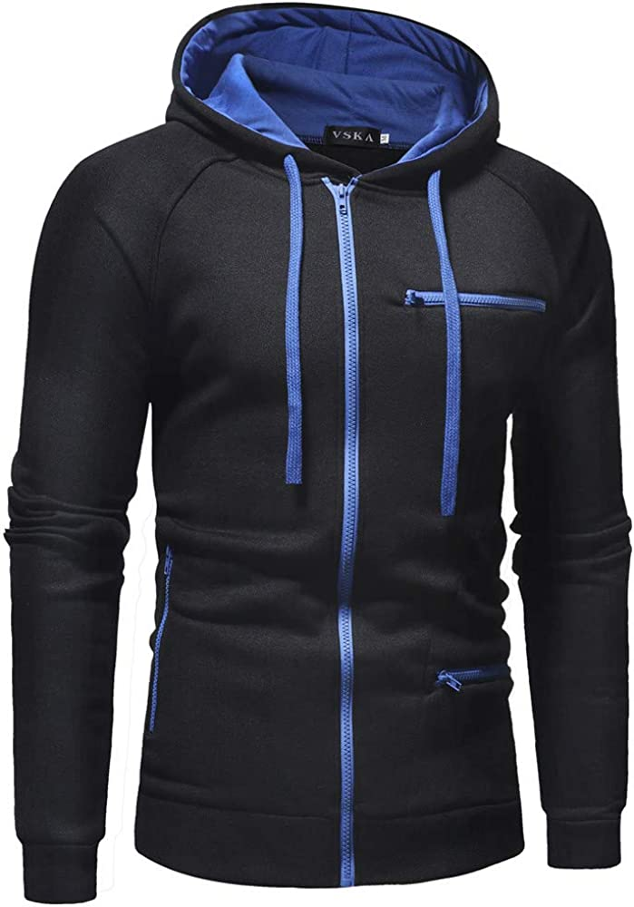 Vska Men Zip Oversized Slim Fit Long-Sleeve Hooded Fleece Sweatshirt