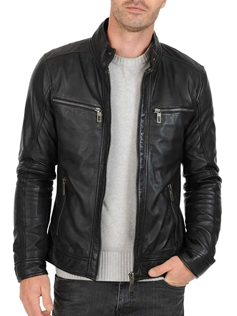 ABDys Mens Cowhide Leather jacket DKC763 Black at Amazon ...