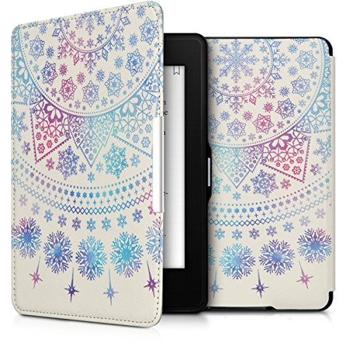 Leather Artificial Mirror (kwmobile Elegant synthetic leather case for the Amazon Kindle Paperwhite Design Arctic snowflake in blue dark pink white)
