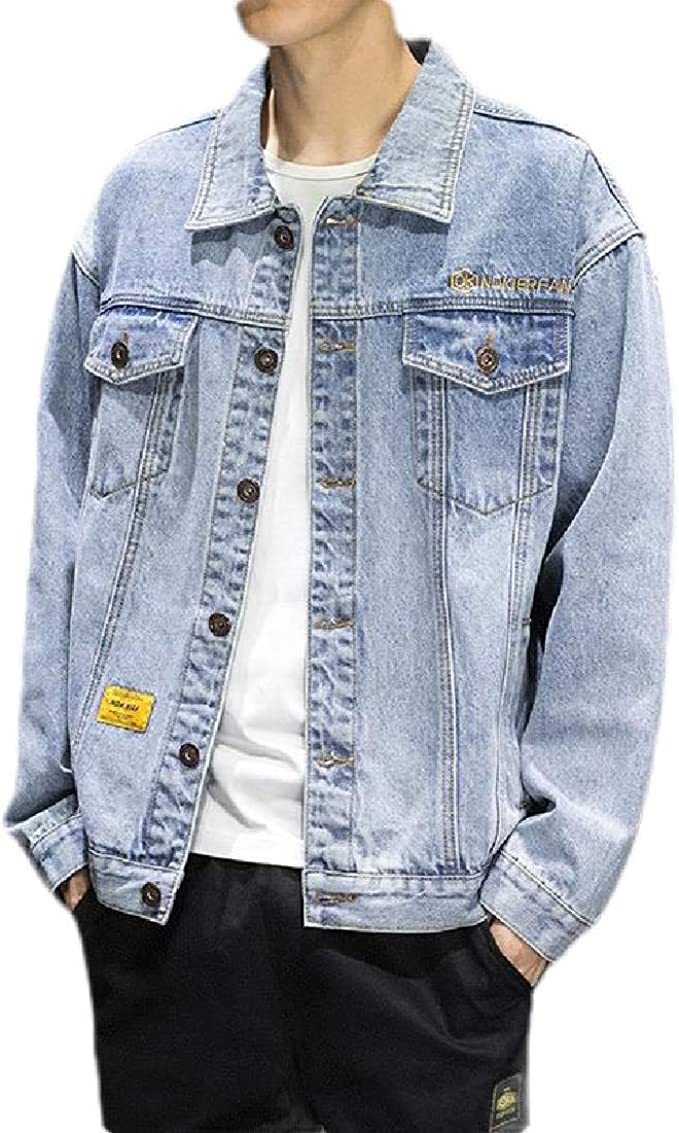 Wilngo Mens Embroidery Long Sleeve Casual Button Front Denim Jeans Trucker Jacket