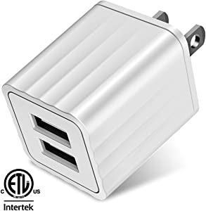 Dual-Port USB Wall Charger (ETL Listed) 2.1A 10.5W AC Travel Power Adapter Cube Compatible with iPhone 11 Pro X XR XS Max/6/6S/7/8/8 Plus,iPod Touch/Nano,iPad Mini 5 4 3 2,iPad Pro/Air 2019