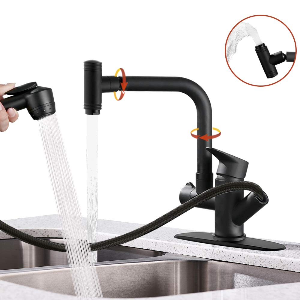 Hoimpro Pull Down Kitchen Faucet, High-Arc Single Handle Rv Kitchen Sink Faucet with Pull Out Sprayer and 360 Degree Swivel Sprayer , 2 Spout Utility Water Faucet, Brass/Matte Black (1 & 3 Hole)
