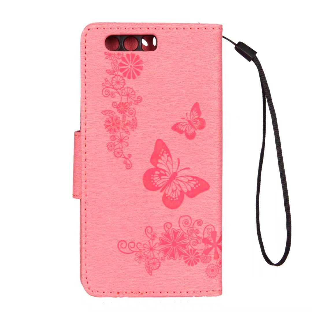 Suerte Mariposa STF-L09 Rosa LEMORRY para Huawei Honor 9 Funda Estuches Cuero Flip Billetera Bolsa Piel Protector Magn/ética Cierre TPU Silicona Carcasa Tapa para Huawei Honor9
