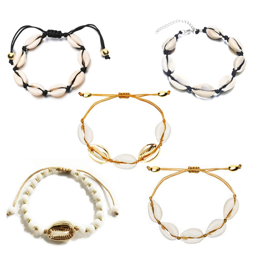 COMMINY 5 Pcs Cowrie Shell Anklets Silver/Gold for Women Girls, Beach Seashell Ankle Charm Bracelet Ankle Chain Set for Summer Vacation