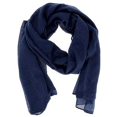 2c9a3e989a27 moonbow Foulard Bleu marine Paillette - Foulard Femme - Echarpe Femme -  Foulard Paillette - Etole