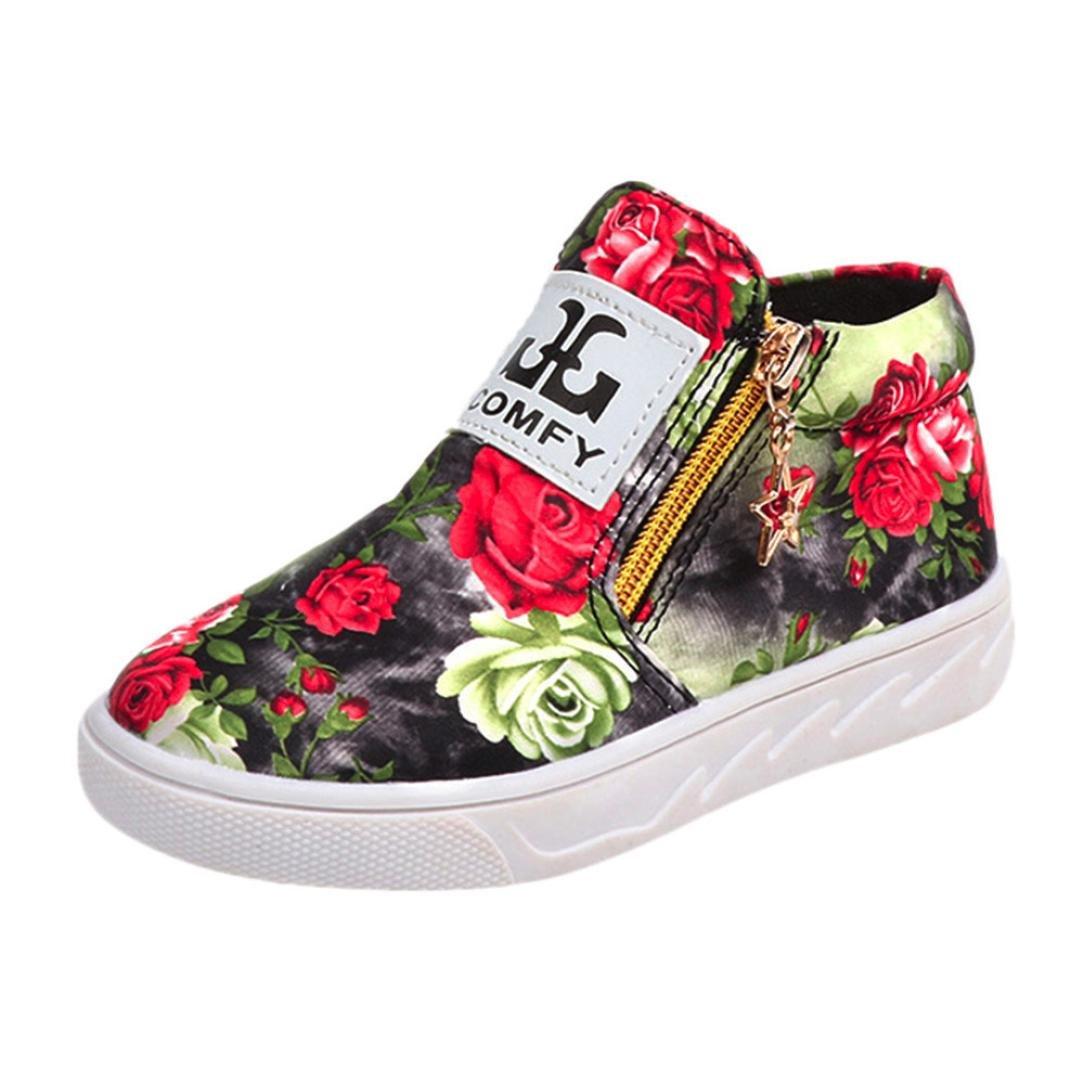 Paolian Enfant Fille Printemps Chaussures Floral Bottines Sport pour 5-12 Ans