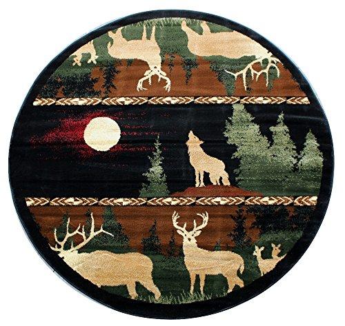 Lodge Cabin Round Area Rug Design 382 - (5 Feet 5 Inch X 5 Feet 5 Inch) Round