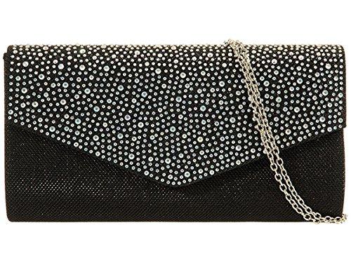 Xardi London, pochette da sera da donna, con glitter e diamanti, per matrimonio Black