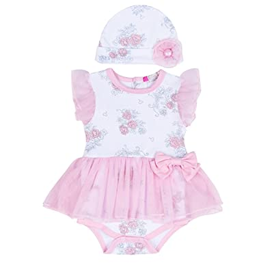 ac87646a9c66 puseky Newborn Baby Floral Princess Girls Mesh Tutu Romper Dress Hat Clothes  Set (0-